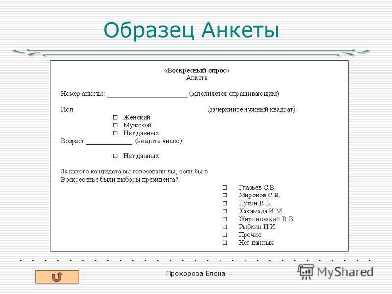 Прохорова Елена Образец Анкеты