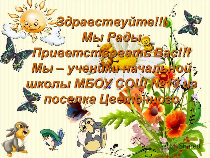 Здравствуйте!!! Мы Рады Приветствовать Вас!!! Мы – ученики начальной школы МБОУ СОШ 13 из поселка Цветочного.