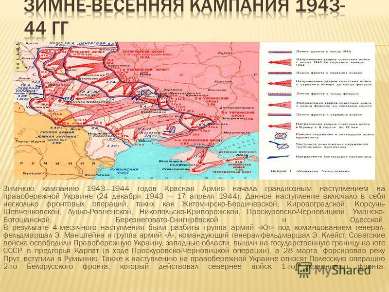 Зимнюю кампанию 19431944 годов Красная Армия начала грандиозным наступлением на правобережной Украине (24 декабря 1943 17 апреля 1944). Данное наступление включало в себя несколько фронтовых операций, таких как Житомирско-Бердичевской, Кировоградской