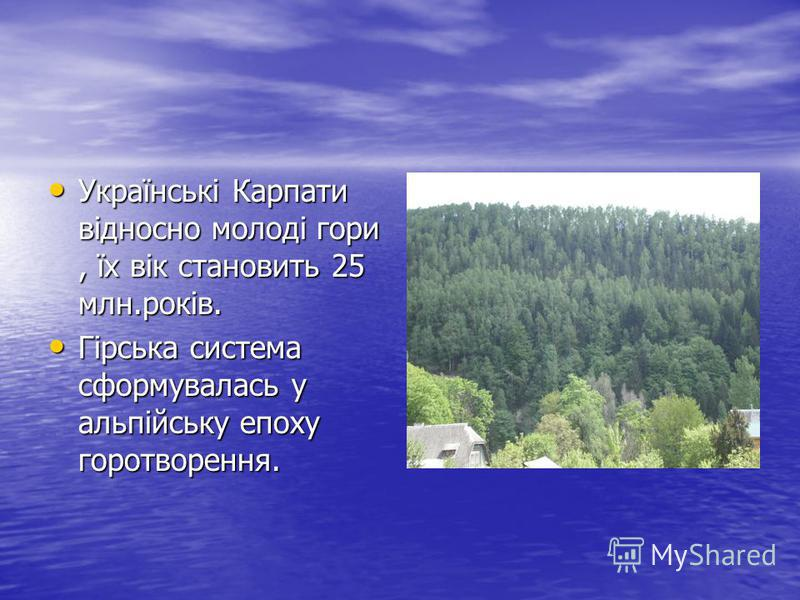 Українські Карпати відносно молоді гори, їх вік становить 25 млн.років. Українські Карпати відносно молоді гори, їх вік становить 25 млн.років. Гірська система сформувалась у альпійську епоху горотворення. Гірська система сформувалась у альпійську еп