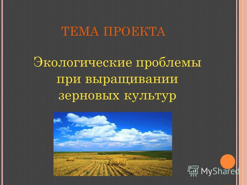 ТЕМА ПРОЕКТА Экологические проблемы при выращивании зерновых культур