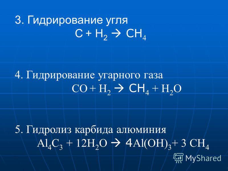 3. Гидрирование угля C + Н 2 СН 4 4. Гидрирование угарного газа CО + Н 2 СН 4 + Н 2 О 5. Гидролиз карбида алюминия Al 4 C 3 + 12Н 2 О 4 Al(OH) 3 + 3 СН 4