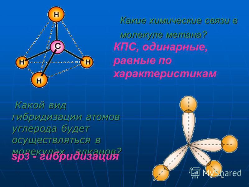Какие химические связи в молекуле метана? Какой вид гибридизации атомов углерода будет осуществляться в молекулах алканов? КПС, одинарные, равные по характеристикам sp 3 - гибридизация