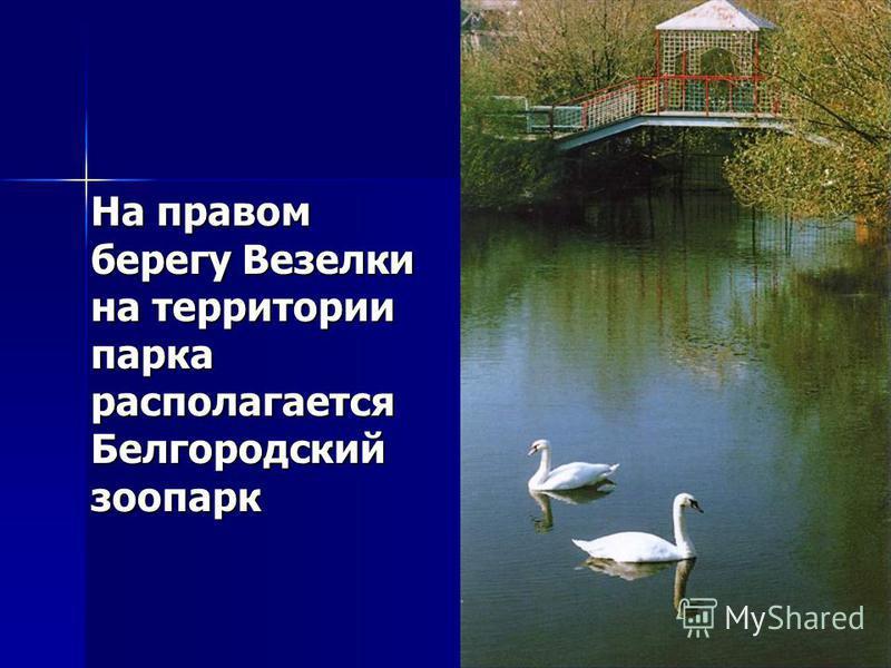 На правом берегу Везелки на территории парка располагается Белгородский зоопарк