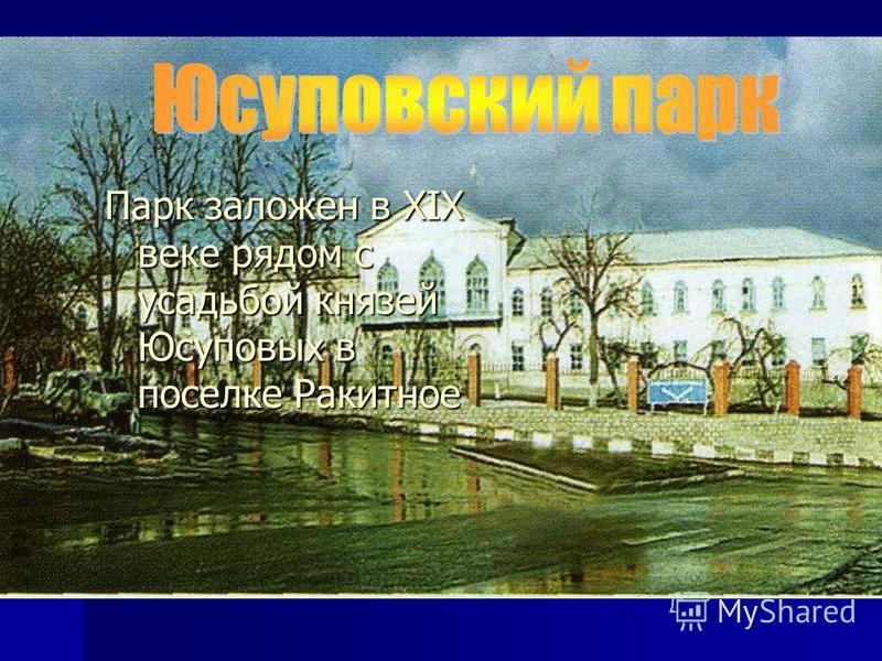 Парк заложен в XIX веке рядом с усадьбой князей Юсуповых в поселке Ракитное
