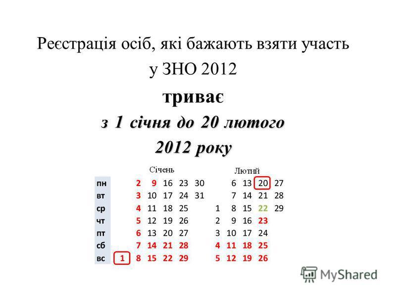 Реєстрація осіб, які бажають взяти участь у ЗНО 2012 триває з 1 січня до 20 лютого 2012 року