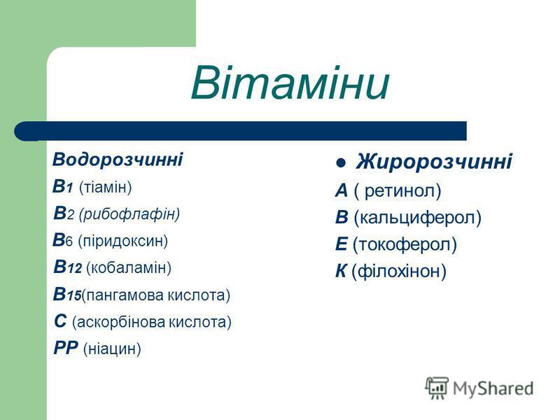 Вітаміни Водорозчинні В 1 (тіамін) В 2 (рибофлафін) В 6 (піридоксин) В 12 (кобаламін) В 15 (пангамова кислота) С (аскорбінова кислота) РР (ніацин) Жиророзчинні А ( ретинол) В (кальциферол) Е (токоферол) К (філохінон)