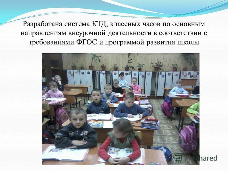 Разработана система КТД, классных часов по основным направлениям внеурочной деятельности в соответствии с требованиями ФГОС и программой развития школы