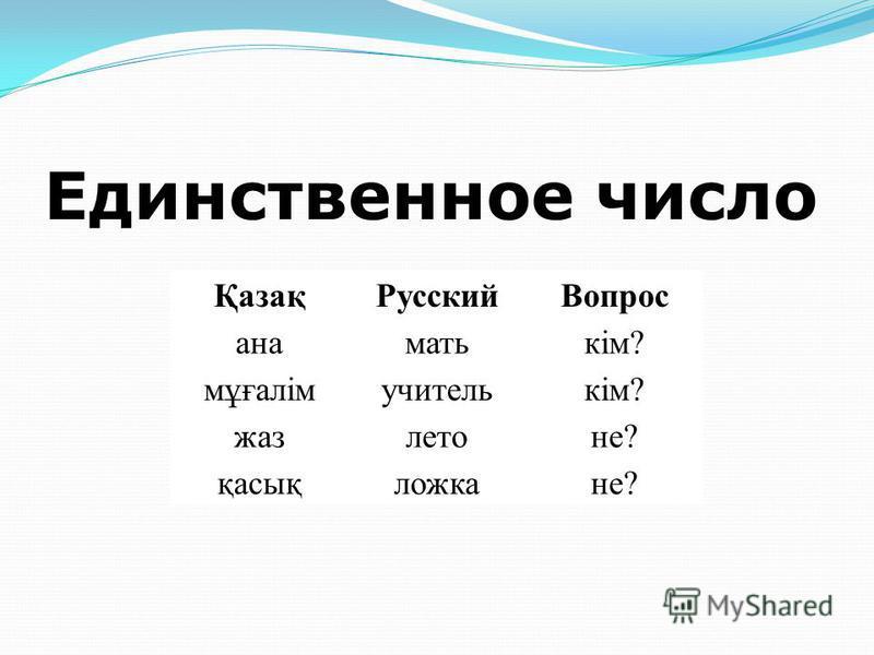Именительный падеж (актау септік)Именительный падеж (актау септік) существительных казахского языка отвечает на вопросы кім? (кто?), не? (что?), кімдер? (нелер?) (множественное число) и используется для названия лица, предмета или явления.