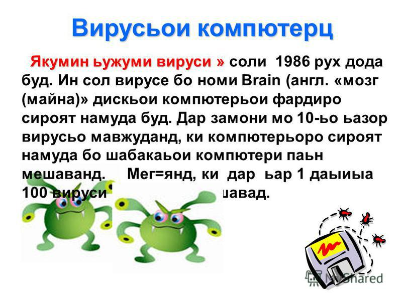 Я кумин ьужуми вируси » соли 1986 рух дода буд. Ин сол вирусе бо номи Brain (англ. «мозг (майна)» дискьои компютерьои фардиро сироят намуда буд. Дар замони мо 10-ьо ьазор вирусьо мавжуданд, ки компютерьоро сироят намуда бо шабакаьои компютери паьн ме