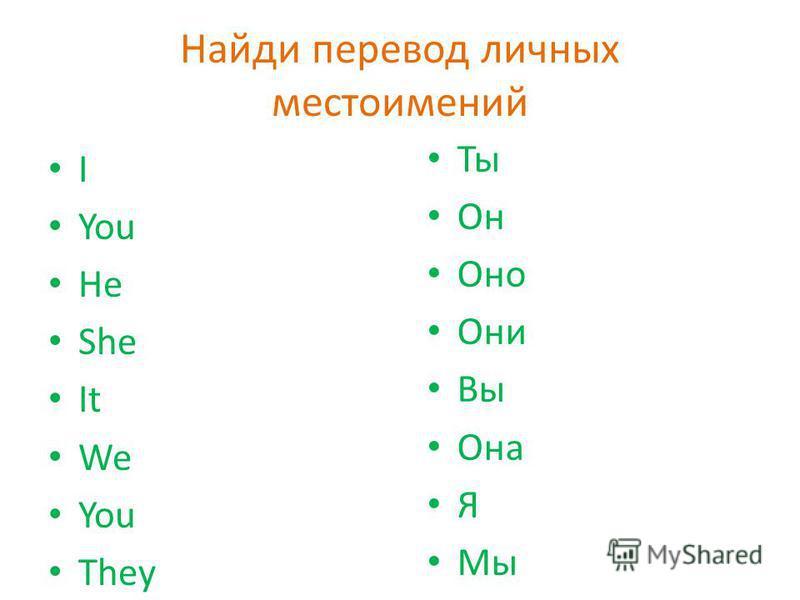 Найди перевод личных местоимений I You He She It We You They Ты Он Оно Они Вы Она Я Мы