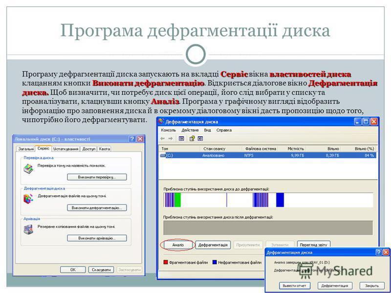 Програма дефрагментації диска Сервісвластивостей диска Виконати дефрагментаціюДефрагментація диска. Аналіз Програму дефрагментації диска запускають на вкладці Сервіс вікна властивостей диска клацанням кнопки Виконати дефрагментацію. Відкриється діало