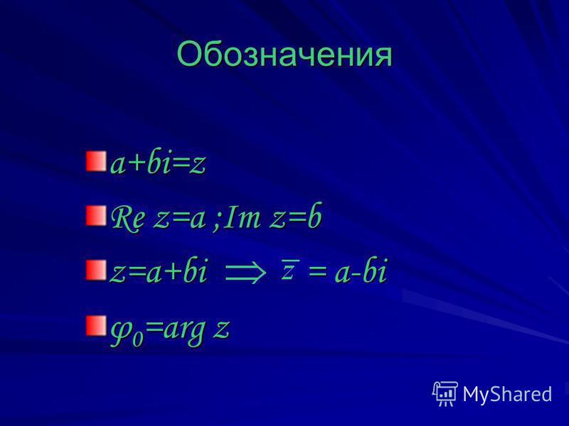 Обозначения a+bi=z Re z=a ;Im z=b z=a+bi = a-bi φ 0 =arg z