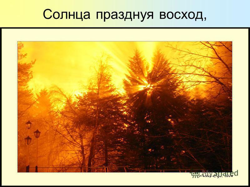 Солнца празднуя восход,