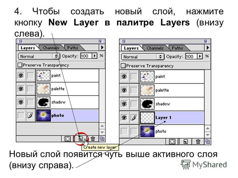 4. Чтобы создать новый слой, нажмите кнопку New Layer в палитре Layers (внизу слева). Новый слой появится чуть выше активного слоя (внизу справа).