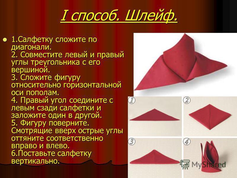 I способ. Шлейф. 1. Cалфетку сложите по диагонали. 2. Совместите левый и правый углы треугольника с его вершиной. 3. Сложите фигуру относительно горизонтальной оси пополам. 4. Правый угол соедините с левым сзади салфетки и заложите один в другой. 5.