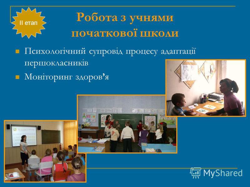 Робота з учнями початкової школи ІІ етап Психологічний супровід процесу адаптації першокласників Моніторинг здоровя