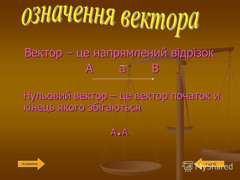 Вектор – це напрямлений відрізок Вектор – це напрямлений відрізок А а В А а В Нульовий вектор – це вектор початок и кінець якого збігаються Нульовий вектор – це вектор початок и кінець якого збігаються А. А А. А продовжень назад