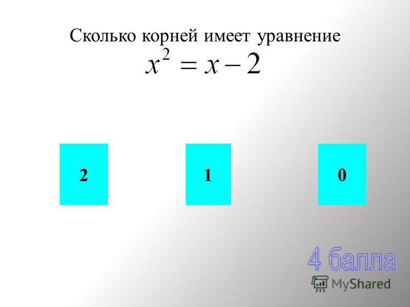 Сколько корней имеет уравнение 01 2