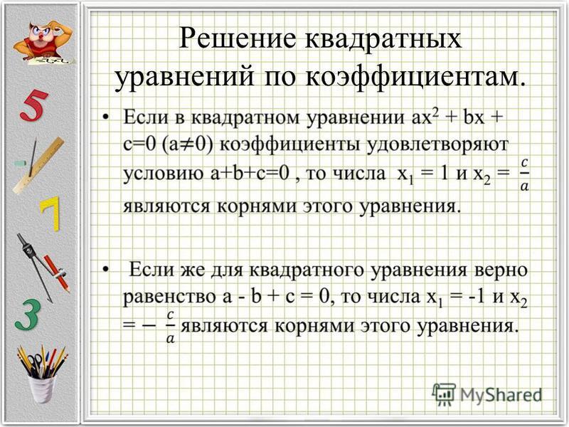 Решение квадратных уравнений по коэффициентам.