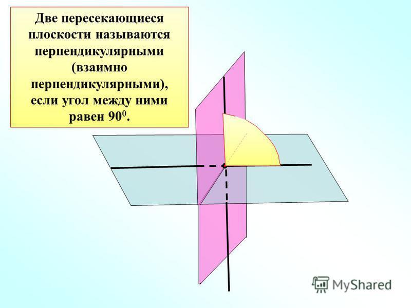 Две пересекающиеся плоскости называются перпендикулярными (взаимно перпендикулярными), если угол между ними равен 90 0.