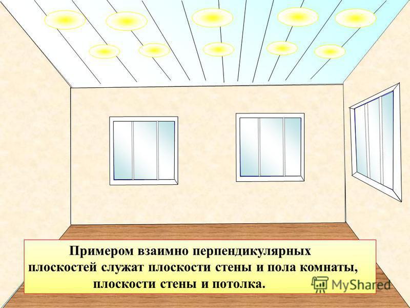 Примером взаимно перпендикулярных плоскостей служат плоскости стены и пола комнаты, плоскости стены и потолка.