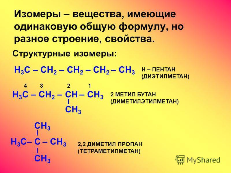 Изомеры – вещества, имеющие одинаковую общую формулу, но разное строение, свойства. Структурные изомеры: H 3 C – CH 2 – CH 2 – CH 2 – CH 3 Н – ПЕНТАН (ДИЭТИЛМЕТАН) H 3 C – CH 2 – CH – CH 3 CH 3 2 МЕТИЛ БУТАН (ДИМЕТИЛЭТИЛМЕТАН) 4 3 2 1 H 3 C– C – CH 3