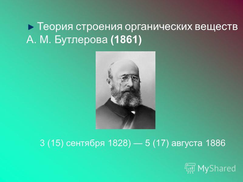 Теория строения органических веществ А. М. Бутлерова (1861) 3 (15) сентября 1828) 5 (17) августа 1886