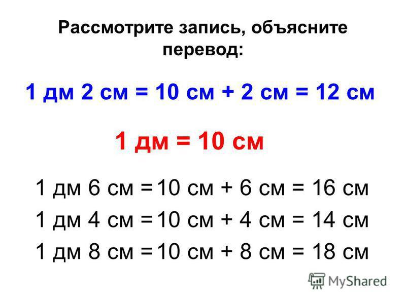 Рассмотрите запись, объясните перевод: 1 дм 2 см = 10 см + 2 см = 12 см 1 дм = 10 см 1 дм 6 см = 10 см + 6 см = 16 см 1 дм 4 см = 10 см + 4 см = 14 см 1 дм 8 см = 10 см + 8 см = 18 см