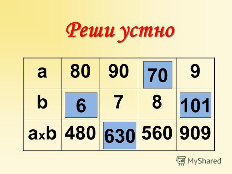 Реши устно a80909 b78 axbaxb480560909 6 630 70 101