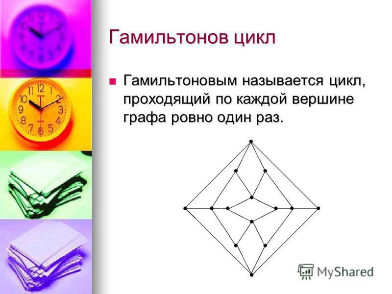 Гамильтонов цикл Гамильтоновым называется цикл, проходящий по каждой вершине графа ровно один раз. Гамильтоновым называется цикл, проходящий по каждой вершине графа ровно один раз.
