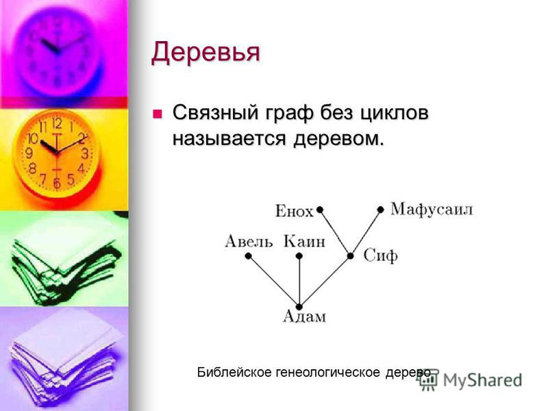 Деревья Связный граф без циклов называется деревом. Связный граф без циклов называется деревом. Библейское генеалогическое дерево