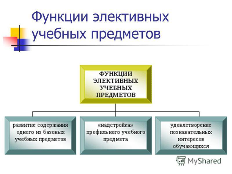 Функции элективных учебных предметов