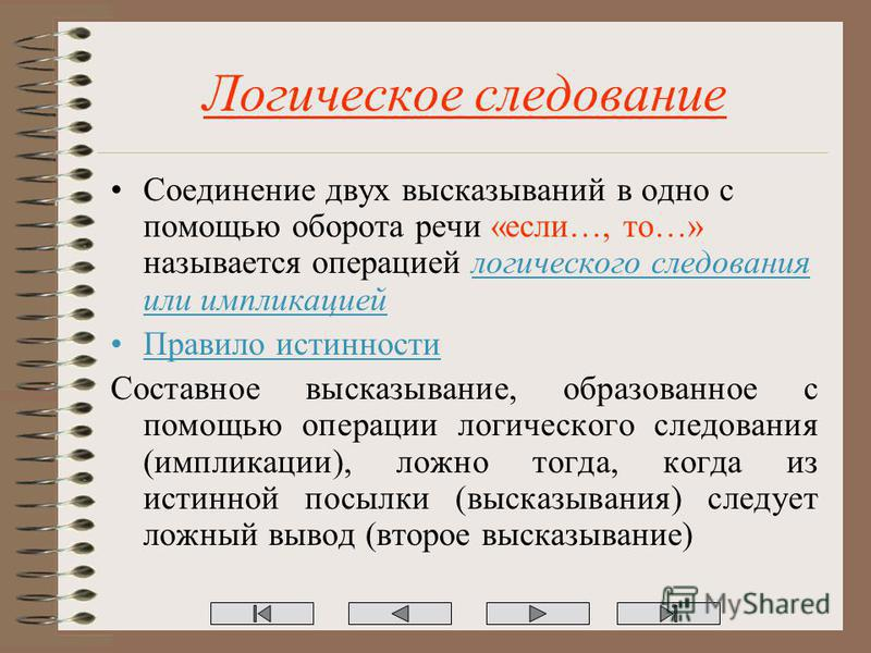 Логическое следование Соединение двух высказываний в одно с помощью оборота речи «если…, то…» называется операцией логического следования или импликацией Правило истинности Составное высказывание, образованное с помощью операции логического следовани