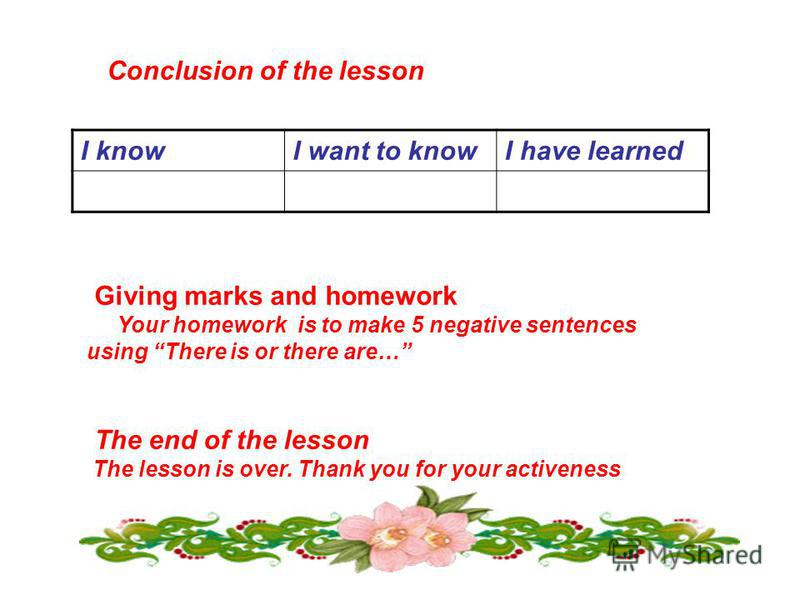 Conclusion of the lesson I knowI want to knowI have learned Giving marks and homework Your homework is to make 5 negative sentences using There is or there are… The end of the lesson The lesson is over. Thank you for your activeness