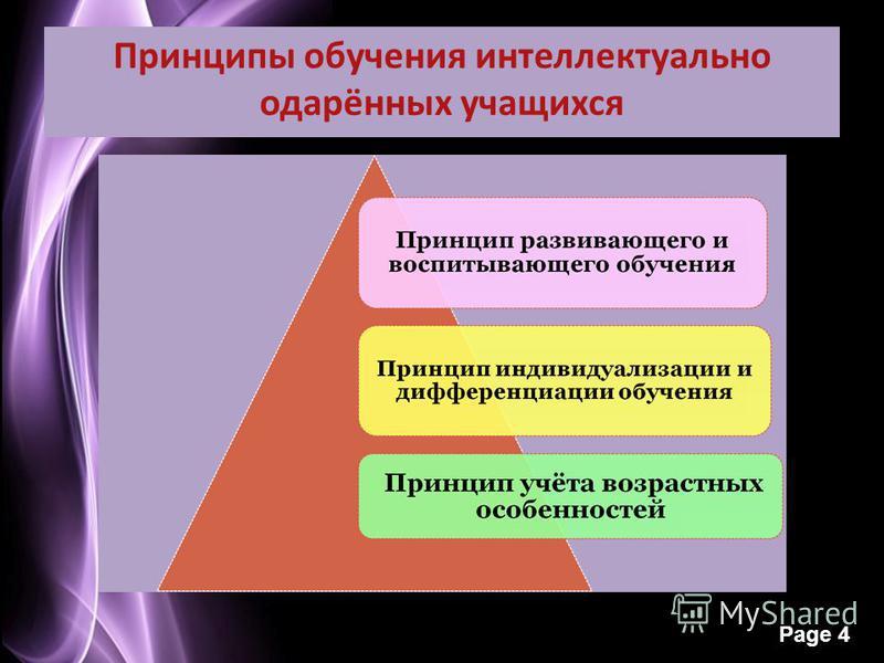 Page 4 Принципы обучения интеллектуально одарённых учащихся