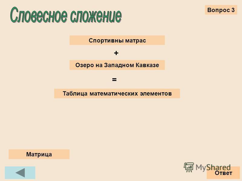 Вопрос 3 Ответ Спортивны матрас Озеро на Западном Кавказе + = Таблица математических элементов Матрица