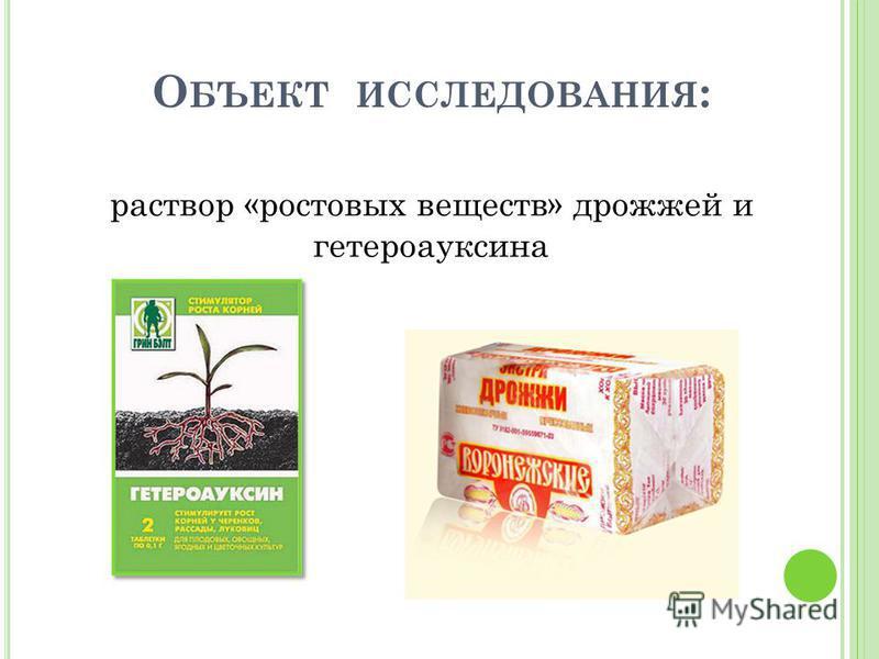 О БЪЕКТ ИССЛЕДОВАНИЯ : раствор «ростовых веществ» дрожжей и гетероауксина