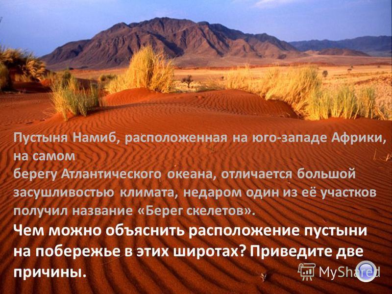 Пустыня Намиб, расположенная на юго-западе Африки, на самом берегу Атлантического океана, отличается большой засушливостью климата, недаром один из её участков получил название «Берег скелетов». Чем можно объяснить расположение пустыни на побережье в