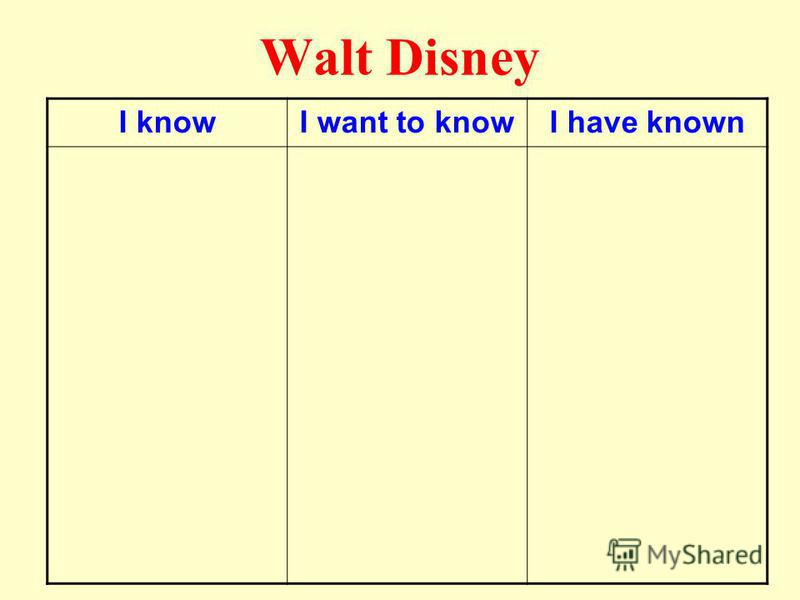 Walt Disney I knowI want to knowI have known