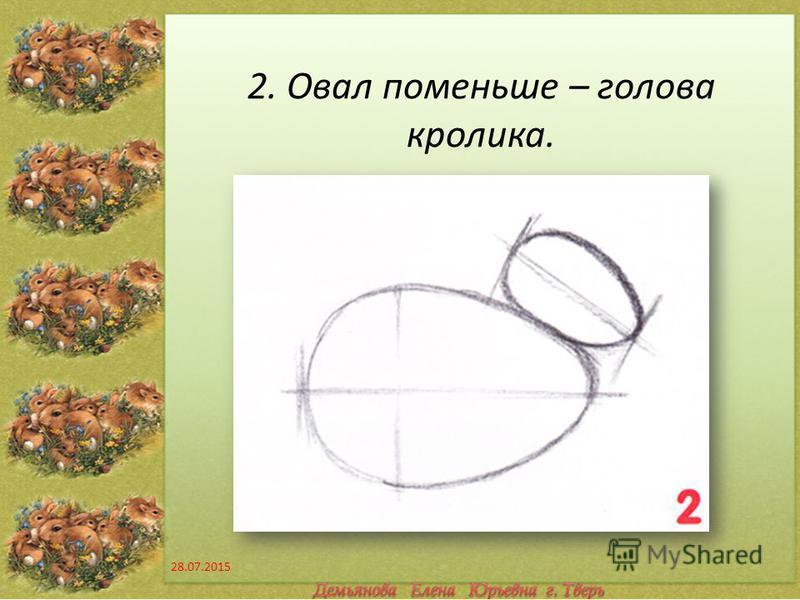 2. Овал поменьше – голова кролика. 28.07.2015