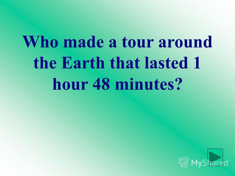 Who made a tour around the Earth that lasted 1 hour 48 minutes?