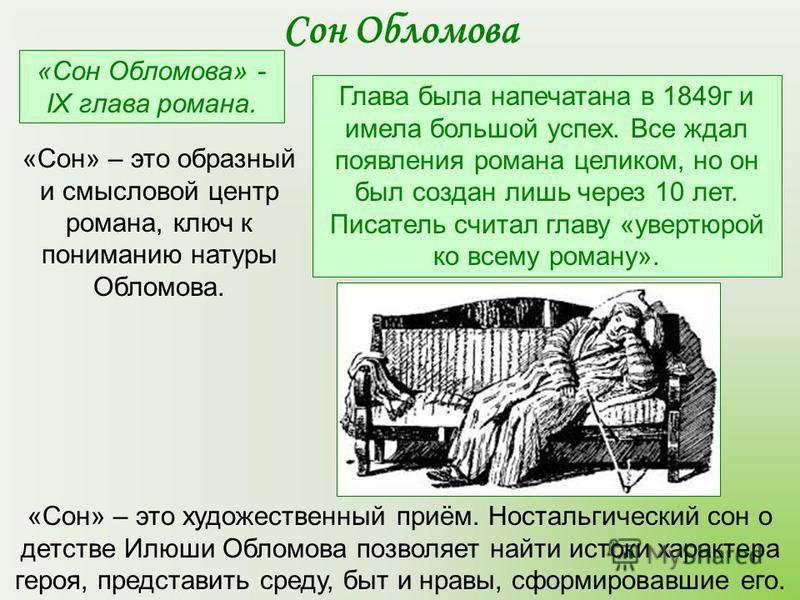 «Сон Обломова» - IX глава романа. Глава была напечатана в 1849 г и имела большой успех. Все ждал появления романа целиком, но он был создан лишь через 10 лет. Писатель считал главу «увертюрой ко всему роману». Сон Обломова «Сон» – это художественный