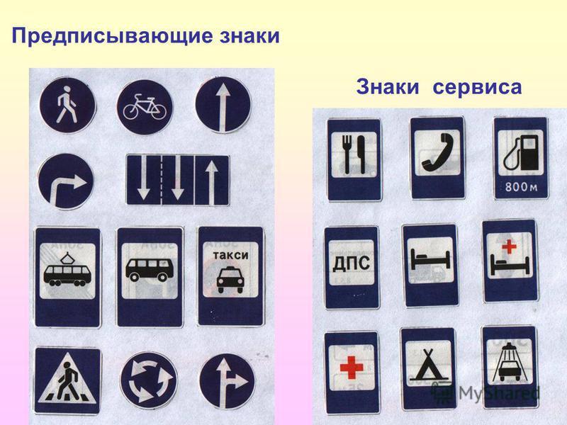 Предписывающие знаки Знаки сервиса