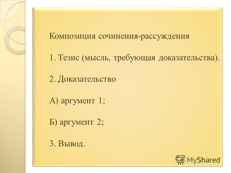 Композиция сочинения-рассуждения 1. Тезис (мысль, требующая доказательства). 2. Доказательство А) аргумент 1; Б) аргумент 2; 3. Вывод.