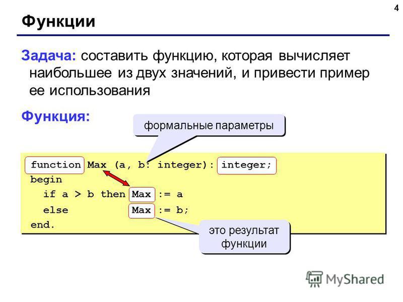 4 Функции Задача: составить функцию, которая вычисляет наибольшее из двух значений, и привести пример ее использования Функция: формальные параметры function Max (a, b: integer): integer; begin if a > b then Max := a else Max := b; end. это результат