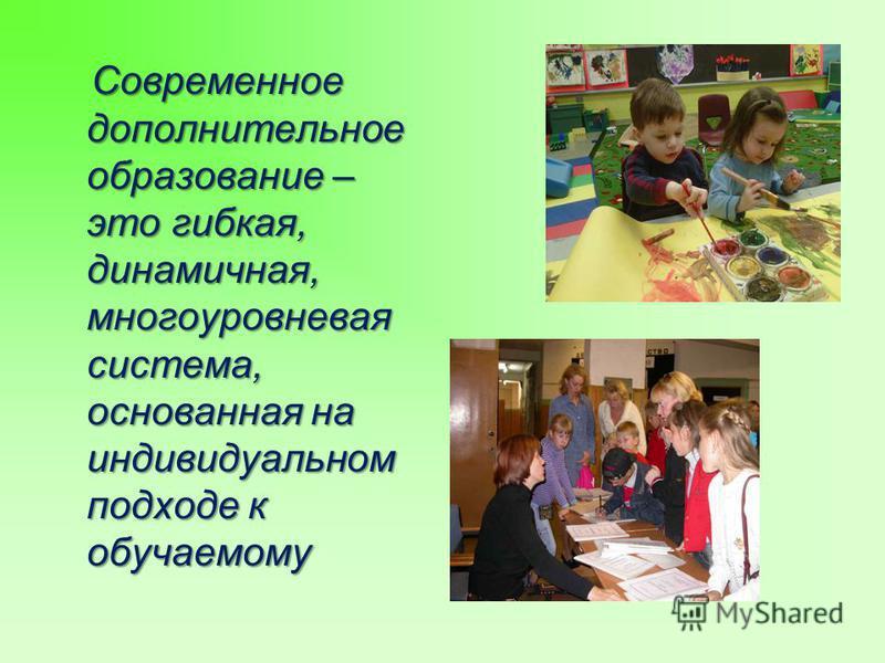 Современное дополнительное образование – это гибкая, динамичная, многоуровневая система, основанная на индивидуальном подходе к обучаемому Современное дополнительное образование – это гибкая, динамичная, многоуровневая система, основанная на индивиду
