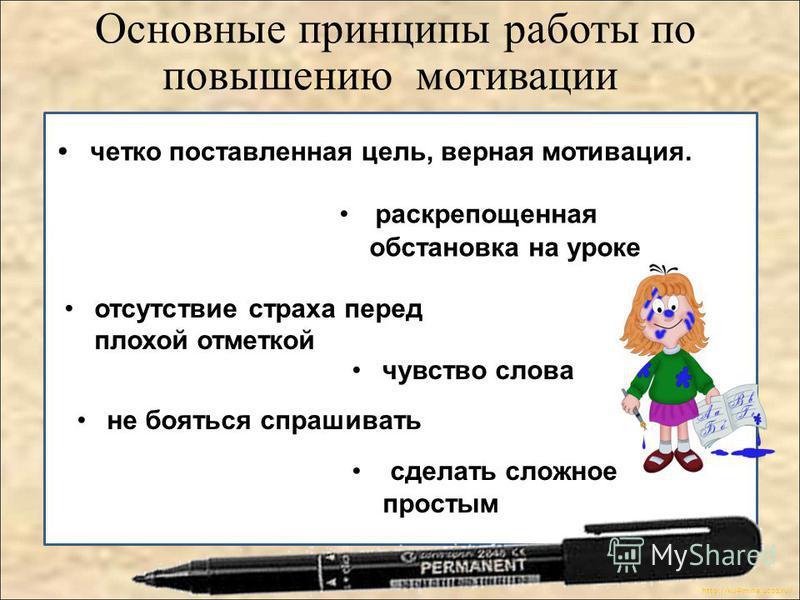 http://ku4mina.ucoz.ru/ раскрепощенная обстановка на уроке Основные принципы работы по повышению мотивации не бояться спрашивать чувство слова отсутствие страха перед плохой отметкой четко поставленная цель, верная мотивация. сделать сложное простым