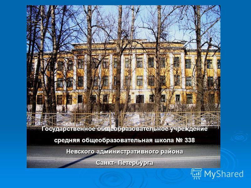 Государственное общеобразовательное учреждение средняя общеобразовательная школа 338 Невского административного района Санкт- Петербурга