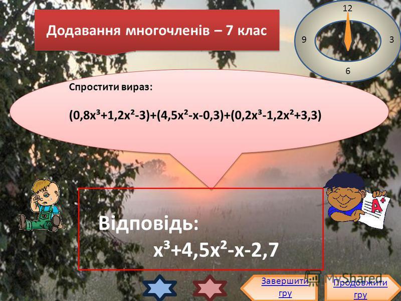 Спростити вираз: (0,8х³+1,2х²-3)+(4,5х²-х-0,3)+(0,2х³-1,2х²+3,3) Спростити вираз: (0,8х³+1,2х²-3)+(4,5х²-х-0,3)+(0,2х³-1,2х²+3,3) 12 3 6 9 Відповідь: х³+4,5х²-х-2,7 Продовжити гру Продовжити гру Завершити гру Додавання многочленів – 7 клас